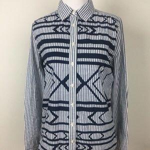Stylus Womens Shirt Blue White Stripe Small
